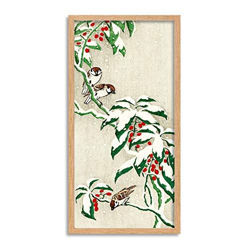 Ohara Koson sparrows på snöig bärbuske lång inramad konsttryck väggaffisch 63 x 30 cm