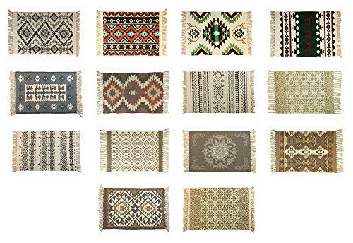 Alfombra de 60 x 90 cm, algodón, tejida a mano, alfombra de retales, alfombra tejida a mano (13)