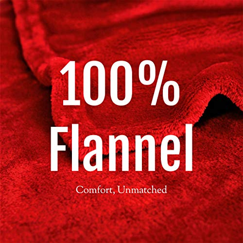 Flannel Fleece Blanket Throw, Bed Blanket for Winter | Plush Microfiber Lightweight Travel Blanket Cozy Softest Warm Thick | Thermal Fuzzy Blanket for Teen Girls | Best Gift for Moms Burgundy 50x60'