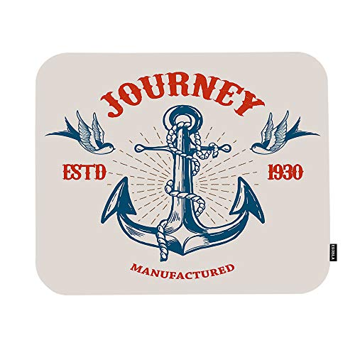 EKOBLA Journey Mouse Pad Vintage Design Nautical Anchor Birds Sailing Marine Cool Navigation Gaming Mouse Mat Non-Slip Rubber Base Thick Mousepad for Laptop Computer PC 9.5x7.9 Inch