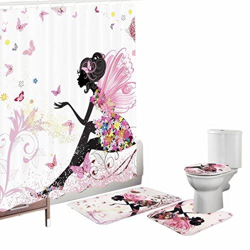 Amagical Flower Fairy Girl with Butterfly 16 Piece Bathroom Mat Set Shower Curtain Set Bathroom Mat Contour Mat Toilet Cover Fabric Waterproof Bathroom Curtain with 12 Hooks