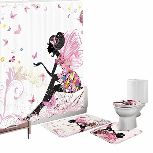 Amagical Flower Fairy Girl with Butterfly 16 Piece Bathroom Mat Set Shower Curtain Set Bathroom Mat Contour Mat Toilet Cover Fabric Waterproof Bathroom Curtain with 12 Hooks