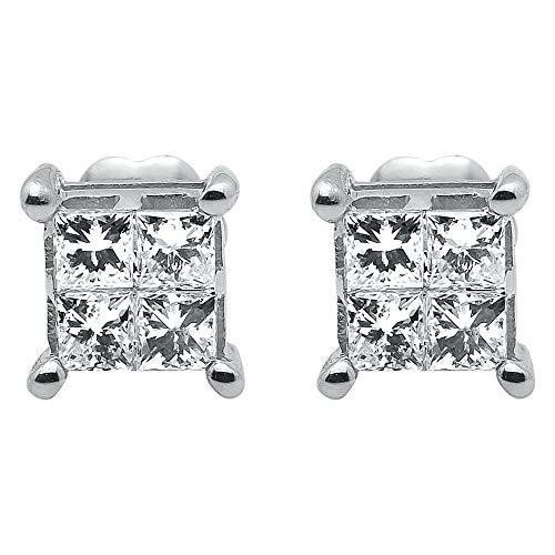 Pendiente de botón cuadrado con diamante de plata de ley chapado en oro blanco de 14Q para mujer princesa cuadrada 1/2 ct
