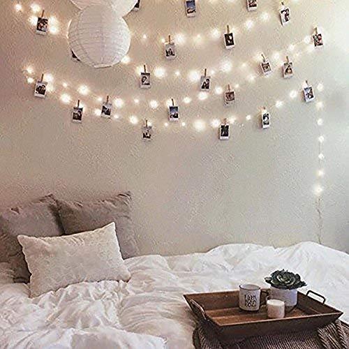 fuchsiaan Guirnalda de Luces LED de Cuento de Hadas, a Pilas, Lámpara de Interior, para Fotoclips, Tarjetasclip, Decoración de Habitacion, Paredes, Cumpleaños, Navidad, Fiestas