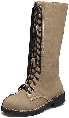 ZHRUI botas para mujer - botas para otoño Invierno Martin botas largas de Encaje botas Gruesas con Botines botas de Moto botas para mujer de Gran tamaño 36-43 (Color   Caqui, tamaño   38)