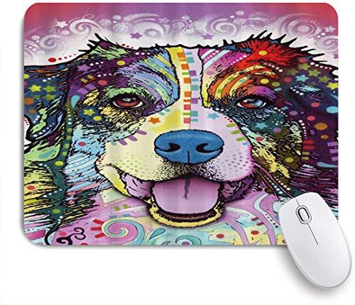 Dekoratives Gaming-Mauspad,Bunter Hund des australischen Schäfers,Bürocomputer-Mausmatte mit rutschfester Gummibasis