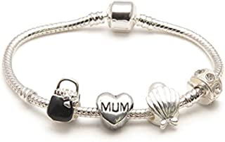 Liberty Charms Mum 'Pearl Lady' Silver Plated Charm/Bead Bracelet