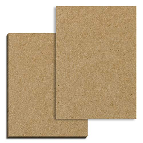50 hojas, Papel Kraft Marrón Carton A4, 200 g/m²