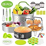 Zalava 25Pcs Instant Pot Accessories Pressure Cooker Set Compatible with 5/6/8 QT, with Stainless Steel Steamer Basket, Steamer Rack, Egg Beater, Magnetic Cheat Sheets