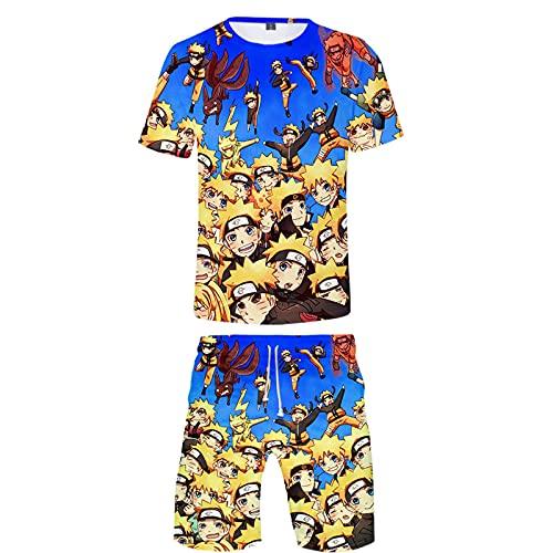 ZOSUO NARUTO Round Neck Shorts Suit Short Men Teens Boys Girls Cosplay Uzumaki Naruto 2 Piece Set T-Shirt Summer Breathable Short Sleeve Casual Pants,Blue,XL