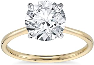 14K Solid Gold 3.0 Carat Solitaire CZ Engagement Ring