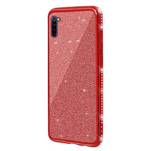 3D Diamant Glitter Paillettes Coque en Silicone pour Xiaomi Redmi Note 8,DasKAn Bling Strass Transparente Fine Souple Housse de Protection Arrière Antichoc Gel TPU Étui de Téléphone,Rouge#1