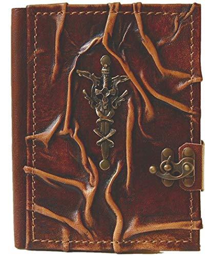 Cuaderno de piel 'Excalibur' | Diario, páginas en blanco | Medieval | Espada mágica | Álbum de poesías | 23,0 x 17,0 x 2,3 cm | (3ª grande)