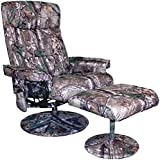 Relaxzen Leisure Recliner Chair with 8-Motor Massage & Heat, Camouflage