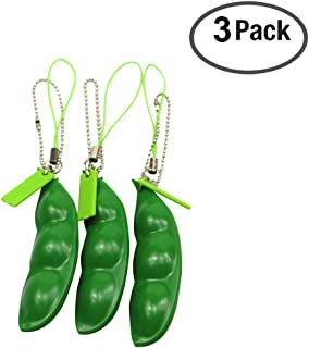 FC MXBB 3Pack Fidget Toys Squeeze-a-Bean Soybean Stress Relieving Keychain Keyring Phone Chain Pendants