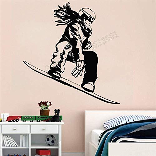 Wandkunst Aufkleber Extremsportdekoration Vinyl Abnehmbares Poster Snowboarder Girl Snowboard Zimmer Aufkleber Modern Sports 57X60Cm