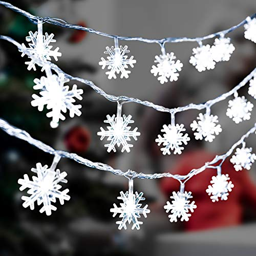 Aonsen DANTENG Christmas Snowflake Lights 20ft 40 LED Fairy Lights Battery Operated Waterproof Decorative for Xmas Garden Patio Bedroom Party Decor Indoor Outdoor Hanging Snowflakes Decor