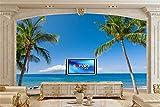 Trópicos Costa MarHawaii Palma Arena Naturaleza Fondos De Pantalla Papel TapizSala De Estar Tv Sofá Pared Dormitorio Papel Tapiz 3D Paisaje-250 * 175Cm
