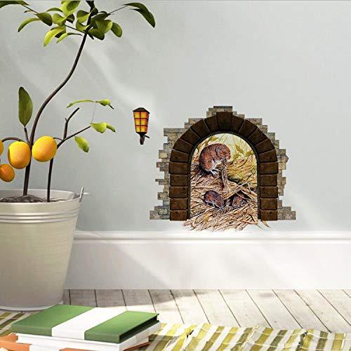 LZRLZR Lustige Cartoon Maus Loch Familie Wandaufkleber Für Kinderzimmer Abziehbilder Dekorative Abnehmbare Wand Murals3D