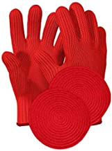 Heat Resistant Oven Gloves with Fingers – 1 Pairs Red Kitchen Oven Mitt Set –..