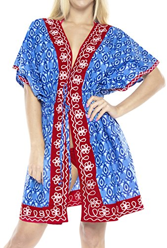 LA LEELA 100% algodón túnica Bordada Medio la Manga la Chaqueta la Rebeca la Camisa Kimono Vestido Ocasional la Blusa Boho caftán Playa Encubrir Superior Las Mujeres Traje baño caftán b
