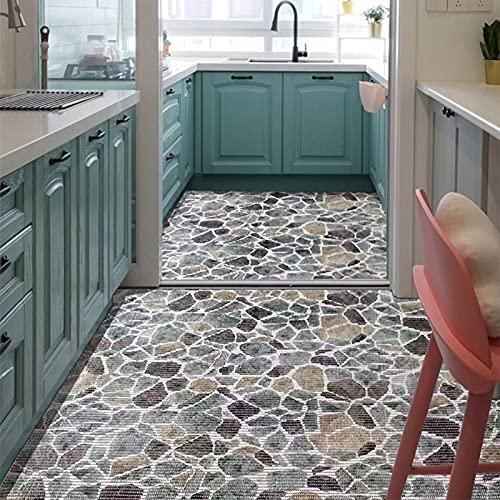 CnCnCn Material de PVC alfombra impermeable a prueba de aceite cocina sala de estar baño ventana de Bahia Se puede cortar Alfombra antideslizante moquetas Felpudos ( Color : A , Size : 65x400cm )