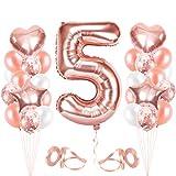 5er Cumpleaños Globos, Cumpleaños 5 Año, Decoración de Cumpleaños 5 en Oro Rosa, Number Balloons, Feliz Cumpleaños Decoración Globos 5 Años, Decoracion Cumpleaños para Niñas y Mujeres