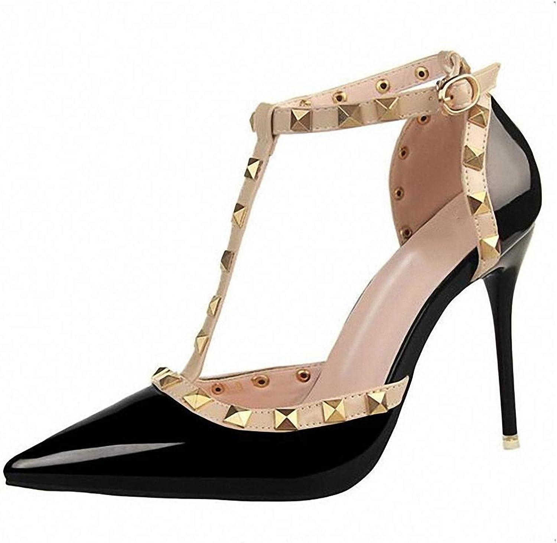 Womens High-Heeled Pumps shoes Woman Summer Women's shoes Fashion Female Sandals Rivet Metal Decoration PU Leather Women High Heels