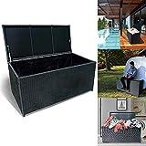 Froadp 360L Poly Rattan Auflagenbox mit Wasserdicht Gefütterte Garten Aufbewahrungsbox mit...