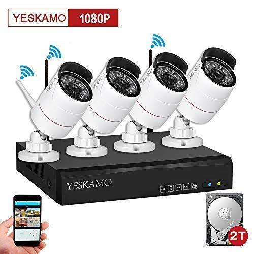 Security Camera System Outdoor YESKAMO Wireless Home Security Camera System 1080P 4 Channel Full HD 2.0 Megapixel IP Cameras CCTV Video Surveillance Cameras Systems with 2TB Hard Drive