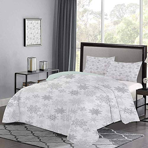 UNOSEKS LANZON Bedding Sets Ornamental Crystals of Ice Freezing Weather in January Cold Artistic Abstract Hotel Stitch Duvet Cover Set Brightened Up The Room Grey Silver White, Twin Size