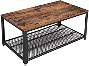 VASAGLE Industrial Coffee Table with Storage Shelf for Living Room, Wood Look Accent..