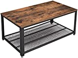 VASAGLE Industrial Coffee Table with Storage Shelf for Living Room, Wood Look Accent Furniture with Metal Frame, Easy Assembly, Rustic Brown ULCT61X, 41. 8' L x 23. 7' W x 17. 7' H