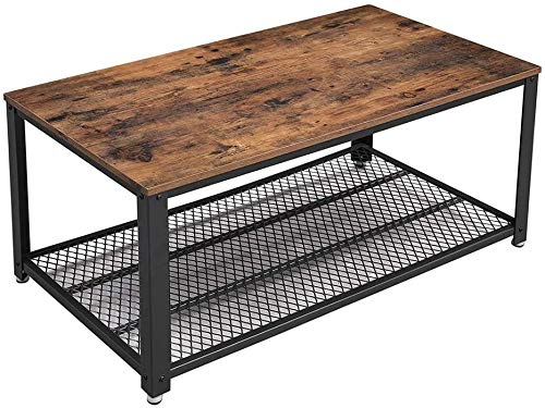 VASAGLE Industrial Coffee Table with Storage Shelf for Living Room, Wood Look Accent Furniture with Metal Frame, Easy Assembly, Rustic Brown
