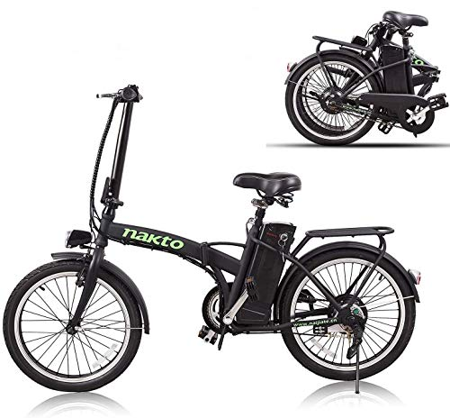 NAKTO 20 inch Folding Electric Bike for Adults 250W Ebike with 36V10AH Lithium Battery,Black Electric Bicycle