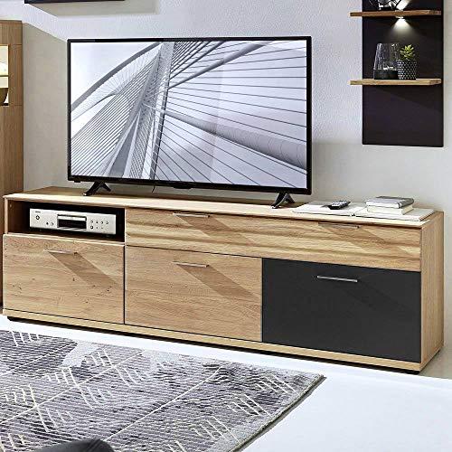 Lomadox Massives TV-Lowboard 180 cm Wildeiche massiv geölt mit Lack-Laminat Graphit