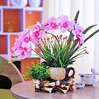Agoodname Fake Flowers with Vase for Table- Artificial Flower Set Ceramic Flower Pot Living Roo Table Decoration Fake Flower Decoration