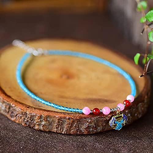 Natural Feng Shui Curación Cristal Tobillera Azul Cristal Lucky Cloisonne Long Life Lock Cerraje Encanto Anklet S925 Multi-gem Rose Cuarzo Cuarzo Joyería Atraen Prosperidad Dinero Suerte