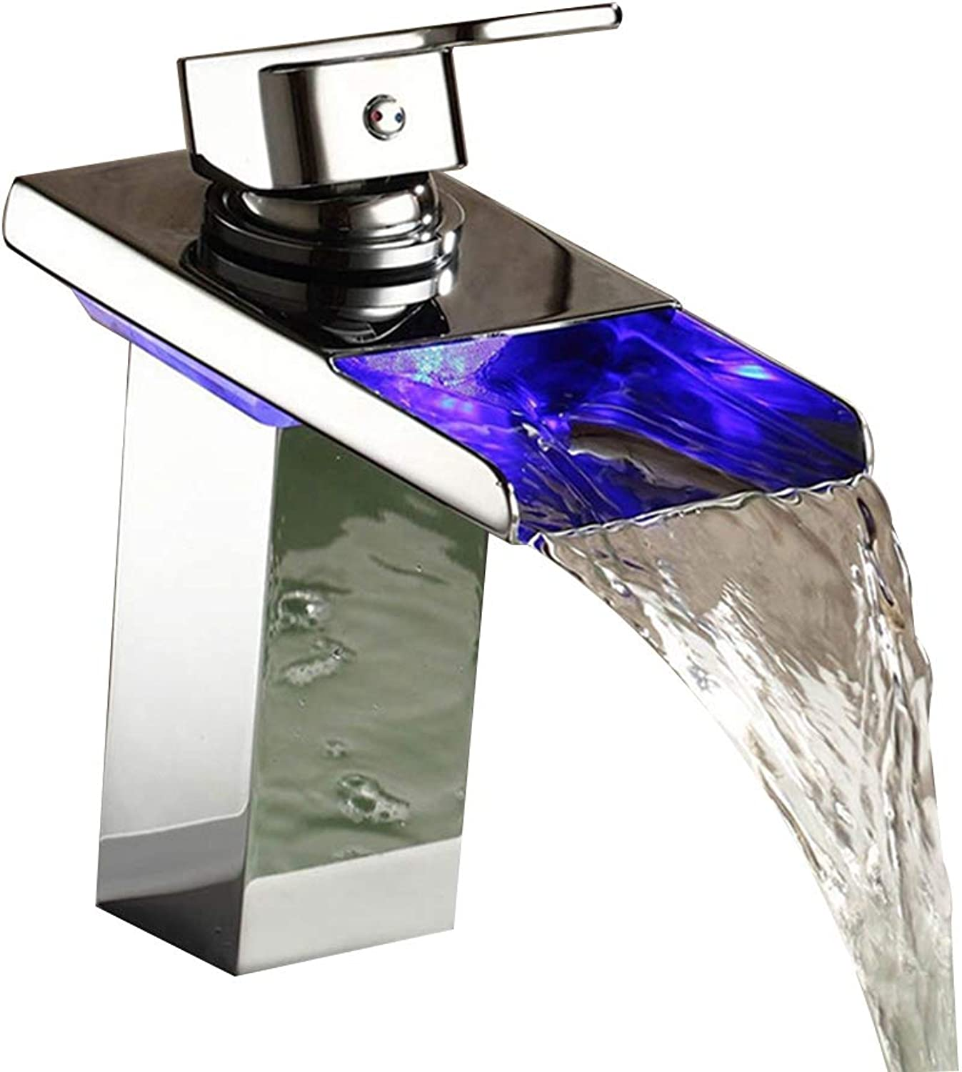 LED Faucet Single Handle Waterfall Chrome Bathroom Basin Sink Faucet Single Hole Silver