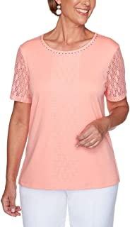 Alfred Dunner Women's Jewel Neckline Soft Knit Top with Lace Sleeves