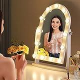LUXFURNI Espejo de Maquillaje de tocador Iluminado Hollywood con 13 Luces LED, Control táctil, luz fría/cálida Regulable, ángulo Ajustable para tocador (Blanco)