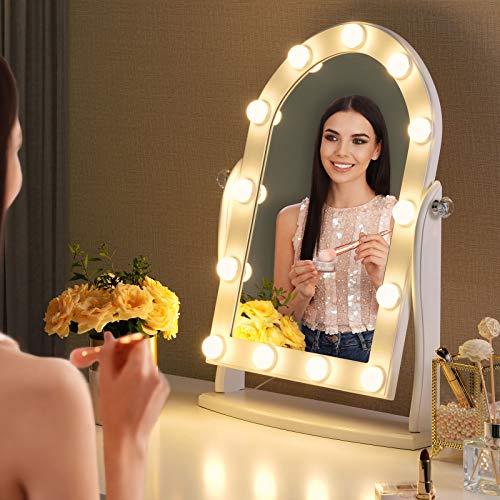 LUXFURNI Hollywood Specchio da trucco illuminato con 13 luci LED, controllo touch dimmerabile luce fredda/calda, angolo regolabile per tavolo da toeletta (bianco)