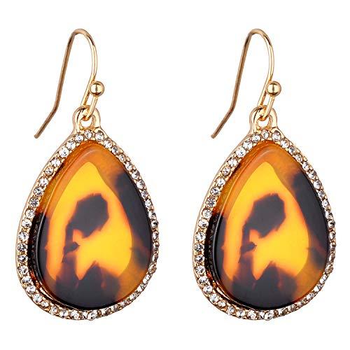 Jones New York Gold Teardrop Leopard Print Resin Acrylic Crystal Dangle Earrings