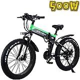 MQJ Ebikes Electric Mountain Bike 26 Pulgadas Bicicleta Eléctrica de Neumáticos de Grasa Plegable de 26 Pulgadas, Bicicleta de Nieve de 48V500W / Neumático de Grasa 4.0, Batería de Litio de 13Ah, Bic