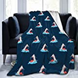 Gaseekry Blanket Hand Drawing Shark Mouth Fleece Flannel Throw Blankets for Couch Bed Sofa Car,Cozy Soft Blanket Throw Queen King Full Size for Kids Women Adults 50'X40'