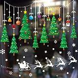 Xnuoyo Etiqueta de Ventana de Navidad Decoración de Ventana de Vacaciones Etiqueta de Ventana de Copo de Nieve de Navidad Fiesta de Navidad Santa Claus Árbol de Navidad Etiqueta de Ventana de Trineo