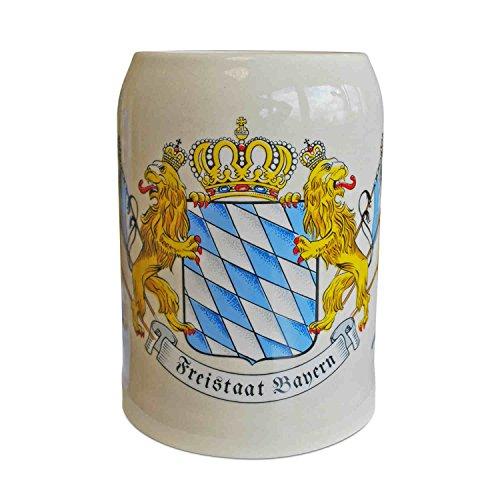 Boccale da birra in pietra con bandiera e leone, in grès porcellanato, grigio-beige, capacità 0,5 l