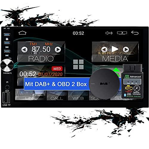 Tristan Auron BT2D7026A Android 10.0 Autoradio + OBD 2 und DAB+ Box I 7\'\' Touchscreen ausfahrbar I GPS Navi 32GB Bluetooth Freisprecheinrichtung I USB SD DAB Plus 2 DIN
