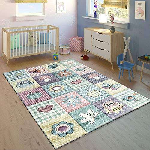 Paco Home Kinderteppich Kinderzimmer Konturenschnitt Niedliche Motive Pastell Mehrfarbig, Grösse:120x170 cm