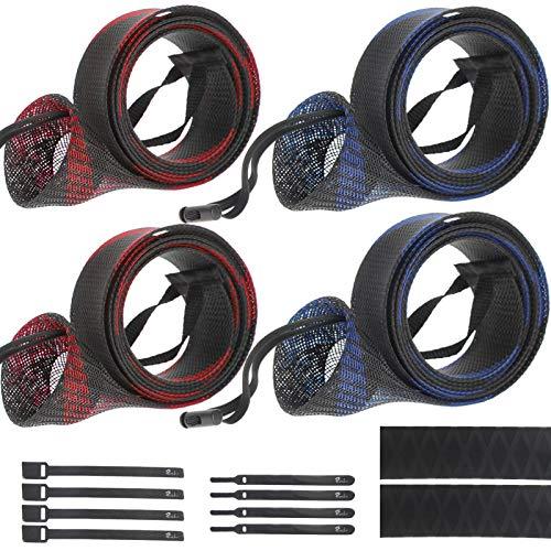 Croch Schutzhülle Set für Angelrute: 4 Stück Angelrutenabdeckung 170cm-190cm Mit Lanyard + 8 x Rutenbänder + Ruttschfester Schumpfschlauch für Angelruten BD02